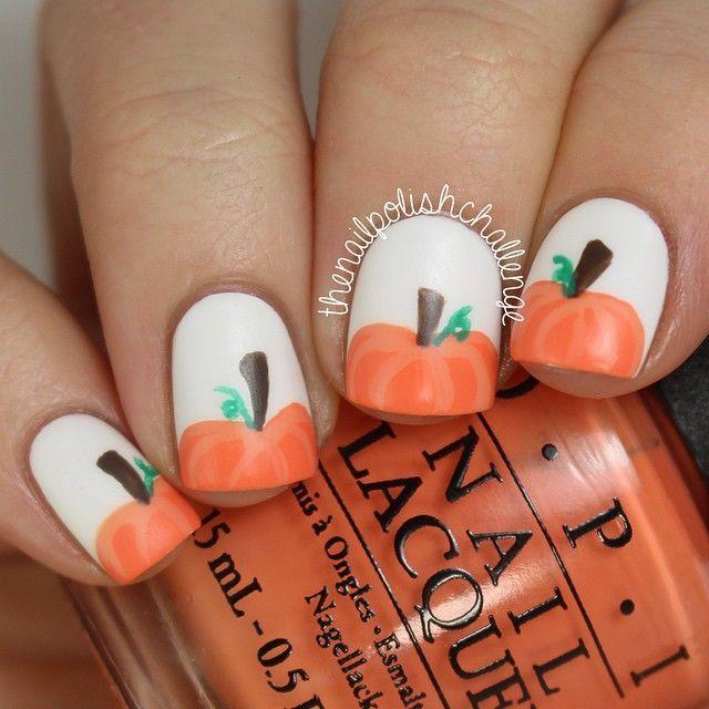 Cute Pumpkin Nails Halloweenfall Nail Love Pinterest