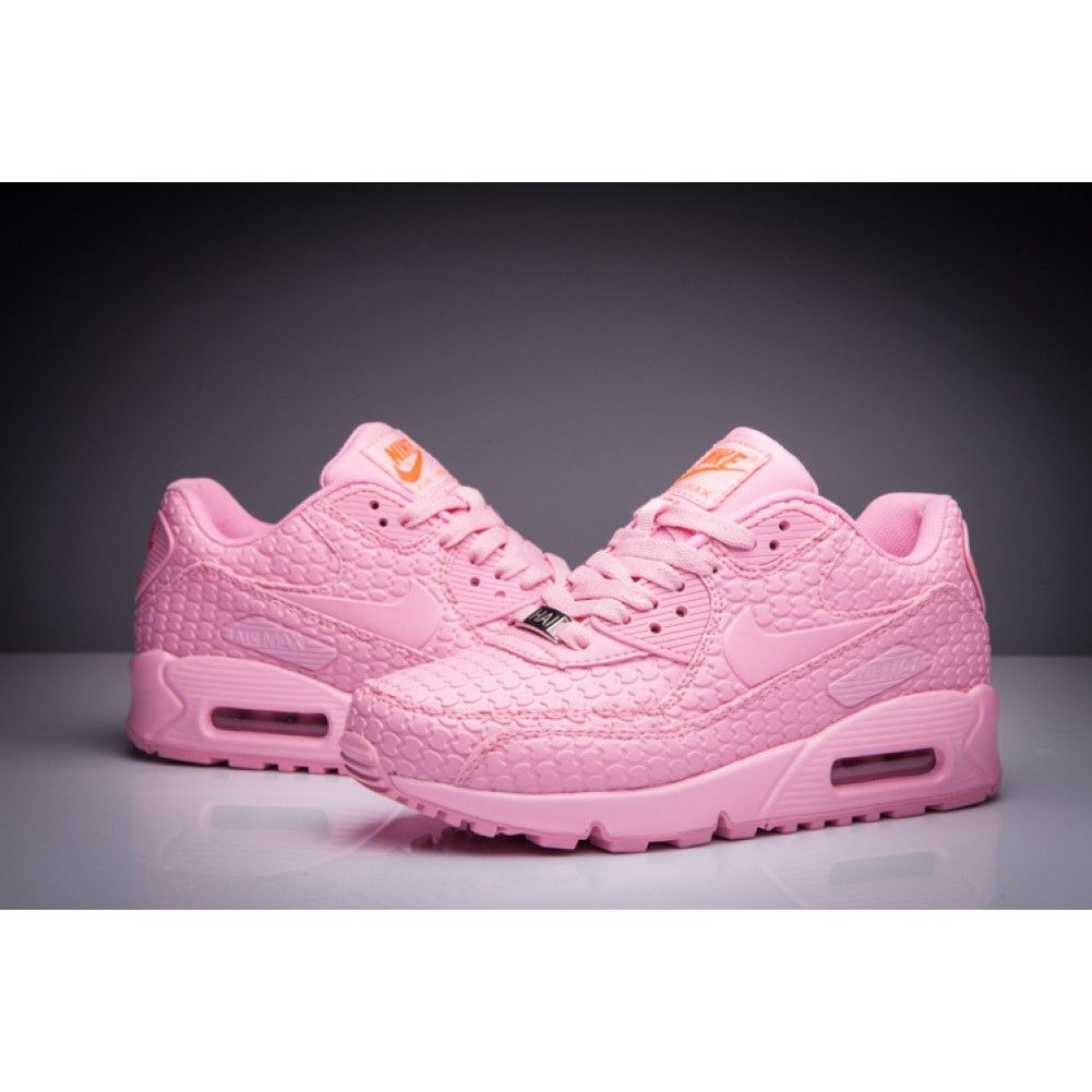 Nike Women Air Max 90 Snake Leather Sneaker Pink 622D