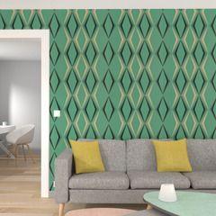 Papier peint DECO DIAMOND coloris vert menthol