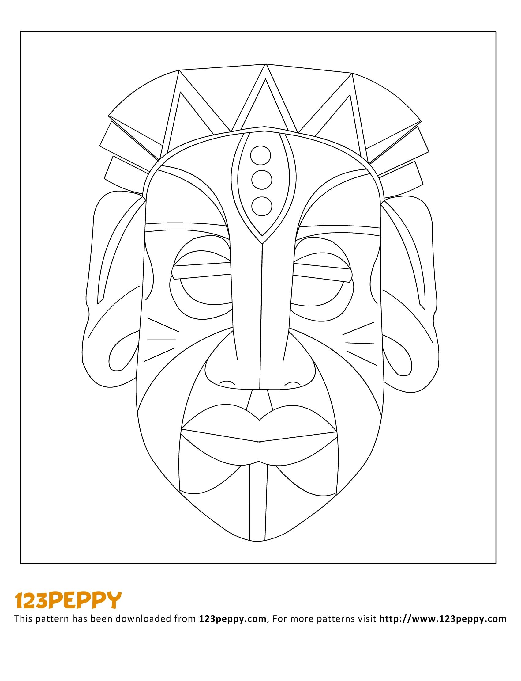 African tribal patterns coloring page for Aztec mask template