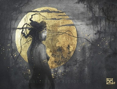Gold leaf paintings by Yoann Lossel