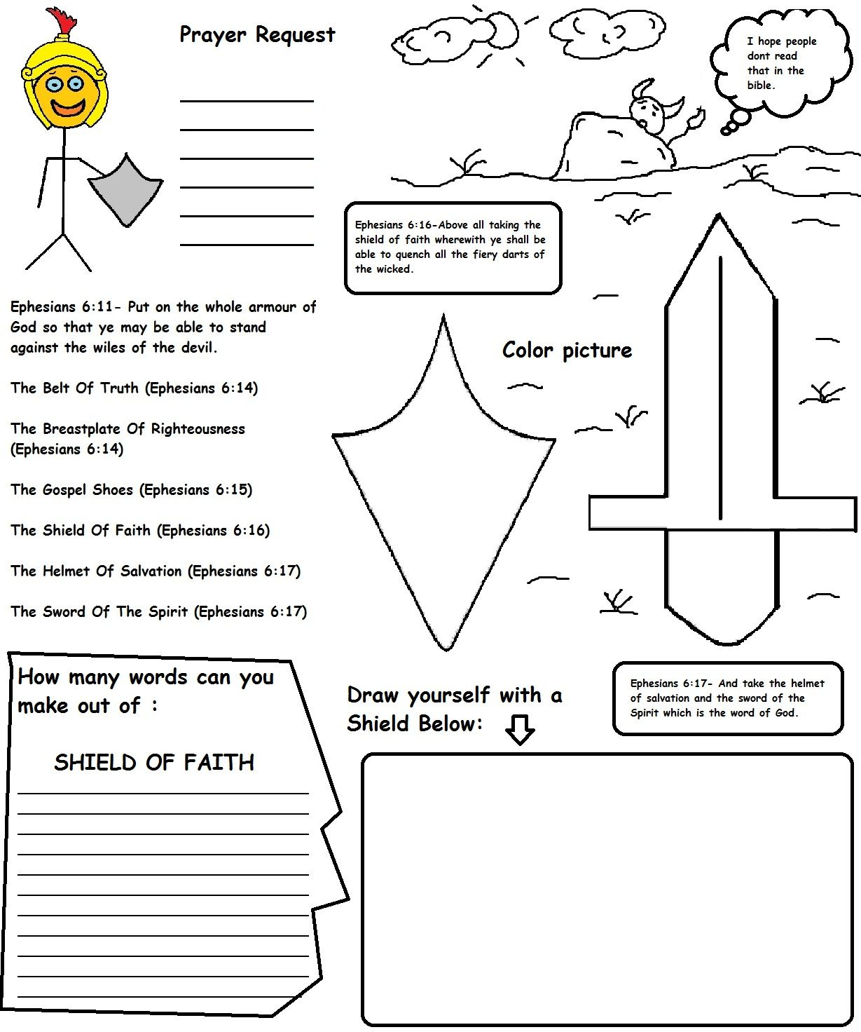 Printable Armor Of God Worksheets Learning How To Read