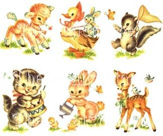 Vintage Style Nursery Animal Decals Shabby Cottage Chic