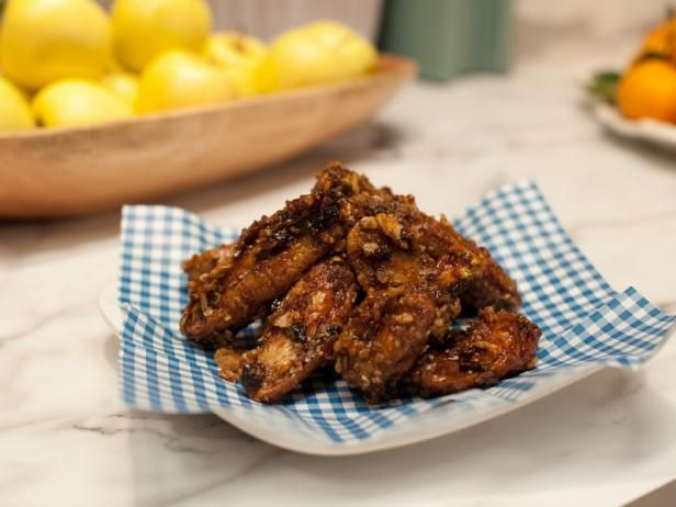Sticky Onion Crunch Wings-- Looks delicious, would just do the sauce on my roasted wings to make it healthier.