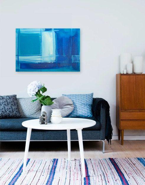 SALE - BiMiNi ROAD - original abstract modern painting - gallery fine art - contemporary interior design - ooak home wall decor - blue ocean.