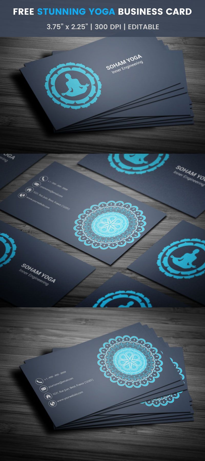 Free Yoga Class Business Card | Business cards, Yoga and Business