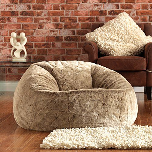 ICON XL Panelled Faux Fur Bean Bag Chair   Extra Large Be... Https