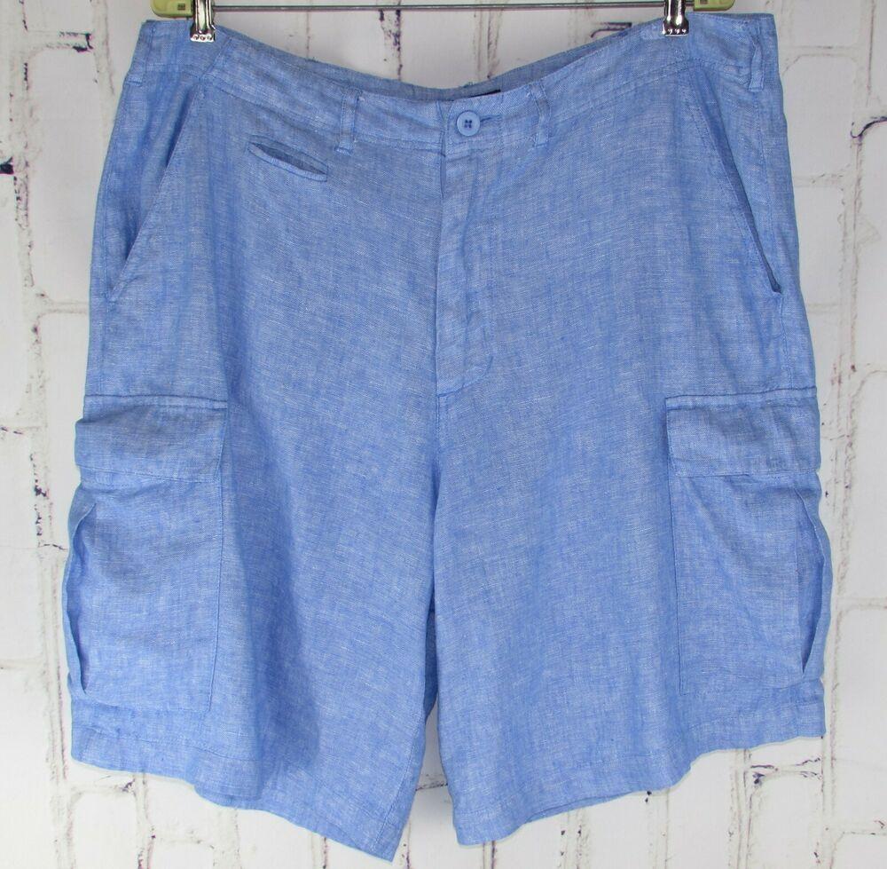 0087ce6b3ab63 Island Company mens 100% Linen Blue Cargo Shorts 34 (actual 38) 10 ...