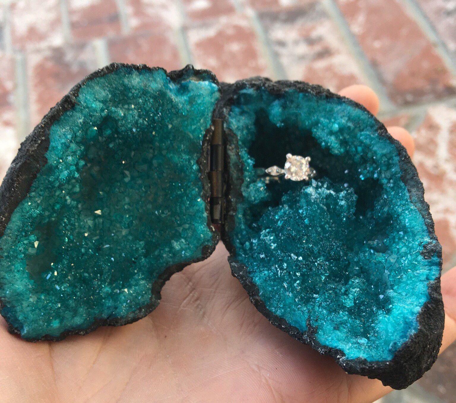 Teal Geode Ring Box Geode Box Proposal Ideas Wedding Ring