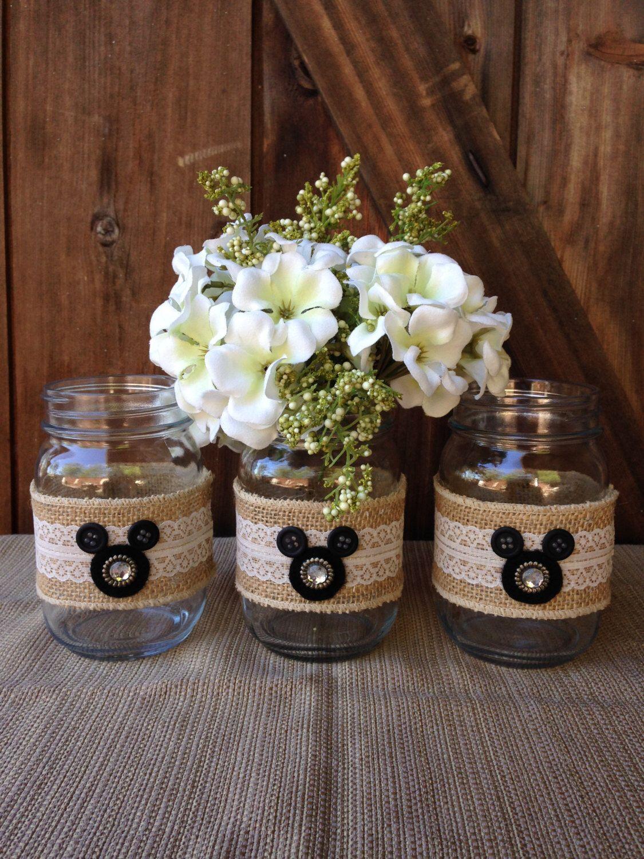Disney Wedding Centerpiece Mickey Mouse Mason Jars - Set of 3 by  aTOUCHofDISNEY on Etsy https