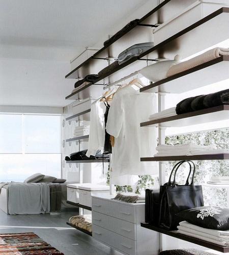 vestidores de diseo para tu dormitorio diseo armarios pinterest estanteras abiertas luces y estantera
