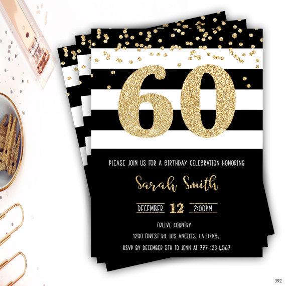 60th Birthday Invitation Gold Glitter Glam Black And White Stripe Invite