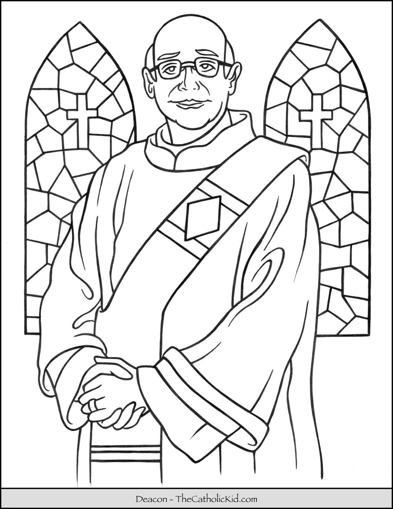 Catholic Deacon Coloring Page Thecatholickid Com Catholic