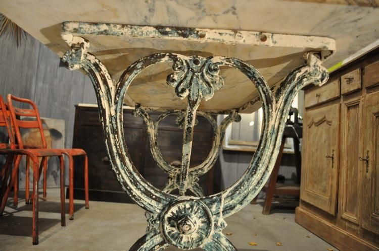1900 French Green Garden Table with Marble Top 5
