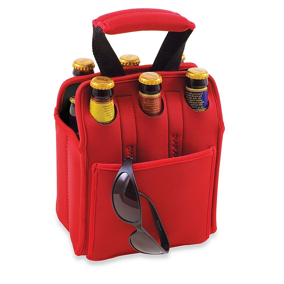 Picnic Time Six Pack Insulated Beverage Carrier In Red Products In 2019 Picnic Time Bottle Carrier Picnic