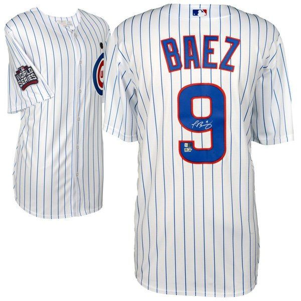 22996ffc086 Javier Baez Chicago Cubs 2016 MLB World Series Champions Autographed  Majestic White Replica World Series Jersey by Fanatics Authentic