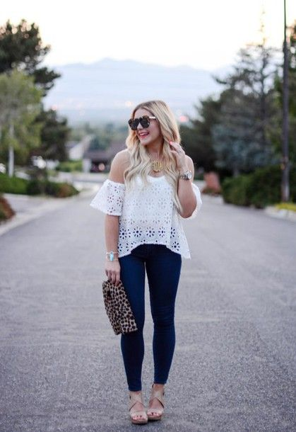 Wheretoget - White off-the-shoulder lace blouse, blue jeans, leopard print clutch and sunglasses, nude heels
