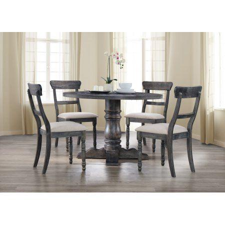 best master furniture selena round 5 piece dinette set weathered