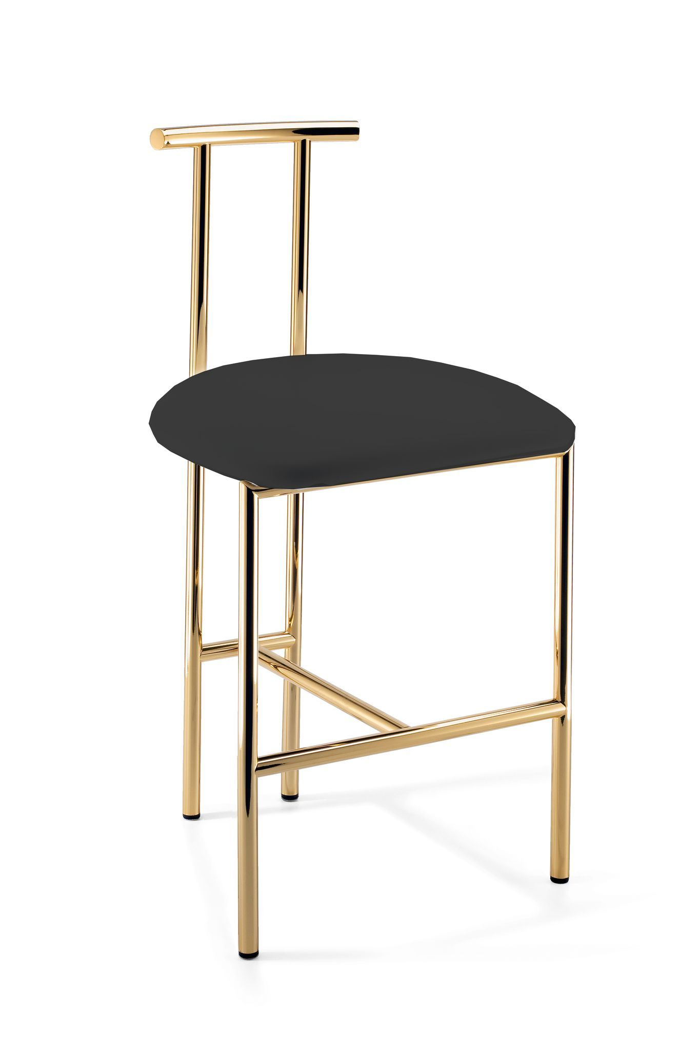 Dwba Vanity Bar Stool Bench, With Brass Metal Legs & Back 185inch