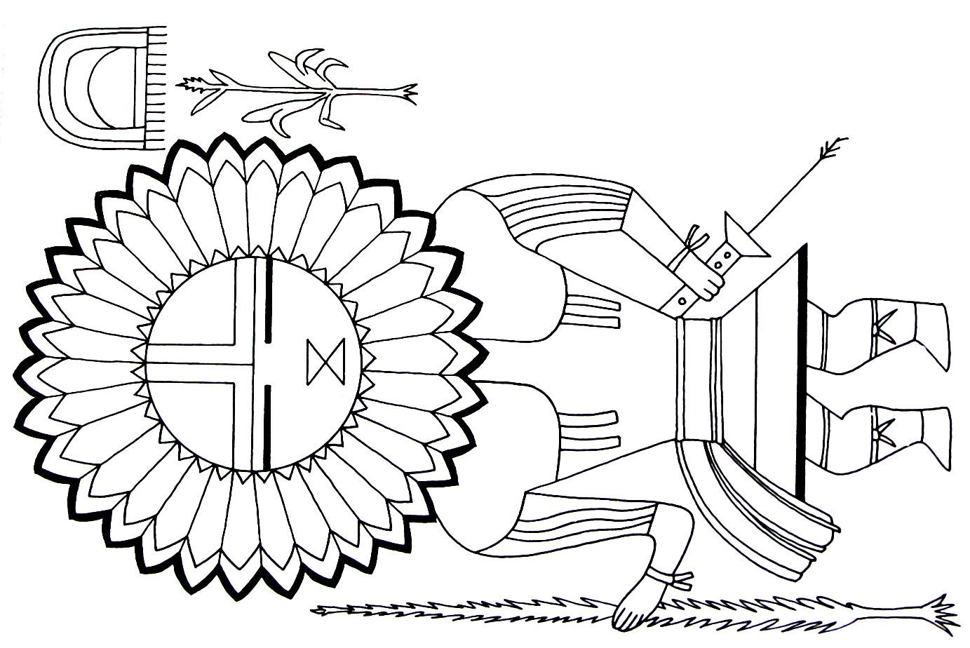 a sun kachina from the hopi indians printable coloring book page - Native American Coloring Book