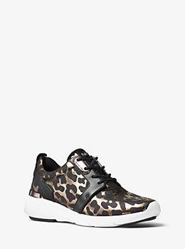 626e9300ea06 Amanda Animal-Print Mesh and Leather Sneaker by Michael Kors