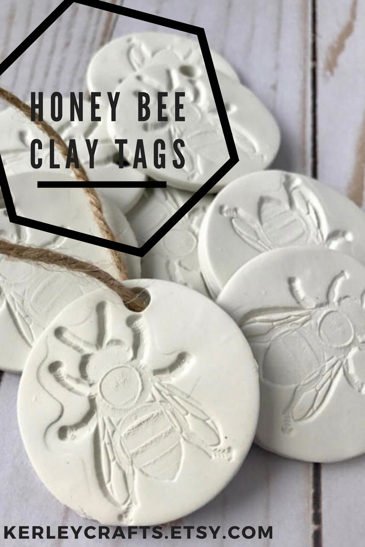 Honey bee favors - honey bee clay tags - for bee lovers - bee ...