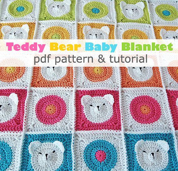 Modèle de couverture de bébé ourson au Crochet pdf & par DadasPlace ...
