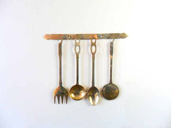 India Brass Kitchen Utensil Set With Holder   Gold Toned   Metal   Wall  Hanging