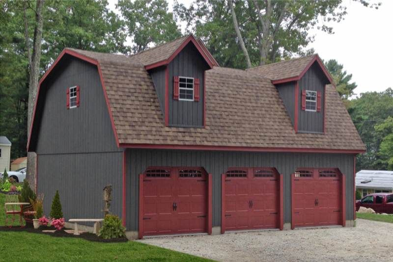 Standard three car garages car garage and pole barn garage for Gambrel barn prices