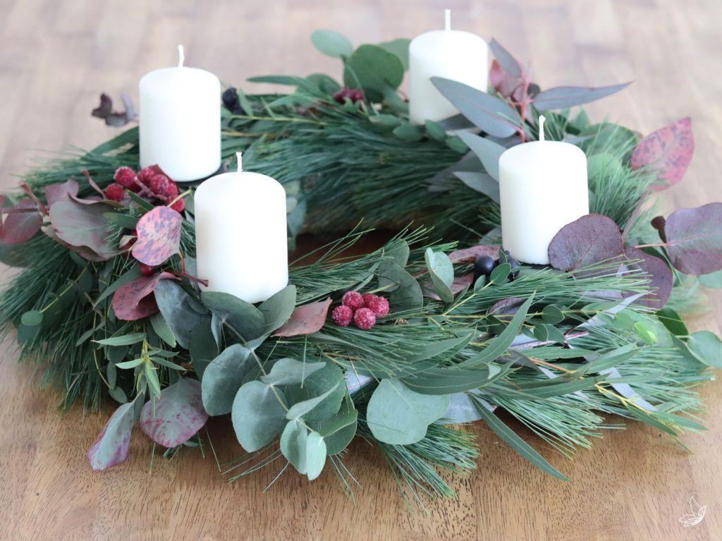 DIY Eukalyptus Kranz & Adventskranz #adventskranzskandinavisch