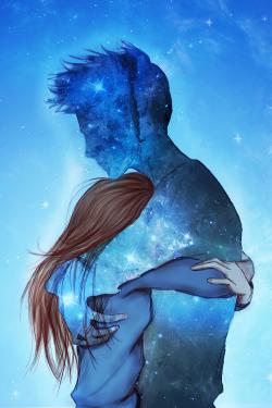 Love Pretty Beauty Drawing Illustration Art Couple Boyfriend Cute Adorable Cool Anime Beautiful Forever Sky Awesome Galaxy Stars Manga Night Blue Hug