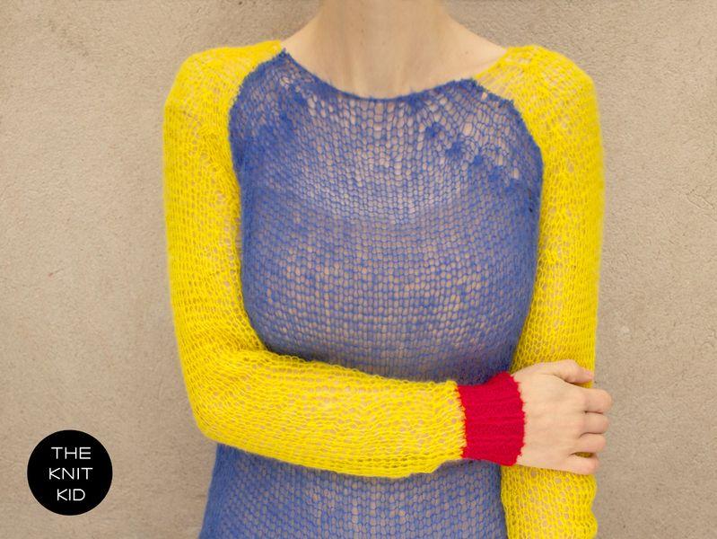 Bunter Strickpulli aus Mohairwolle von the-knit-kid | Stricken ...