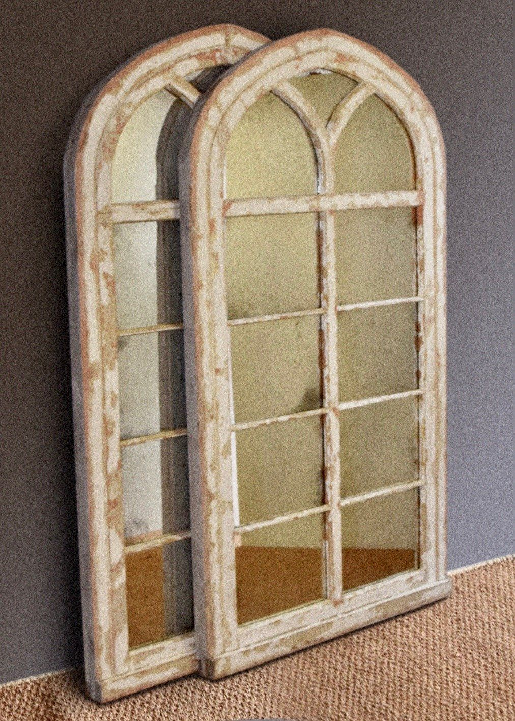 Large Gothic Arched Window Mirror Rough Old Glass