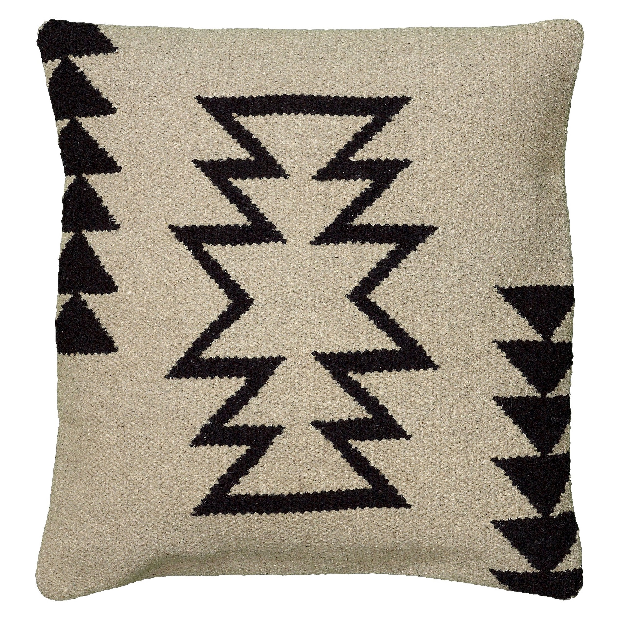 Ivory black southwestern stripe throw pillow 18x18 rizzy home
