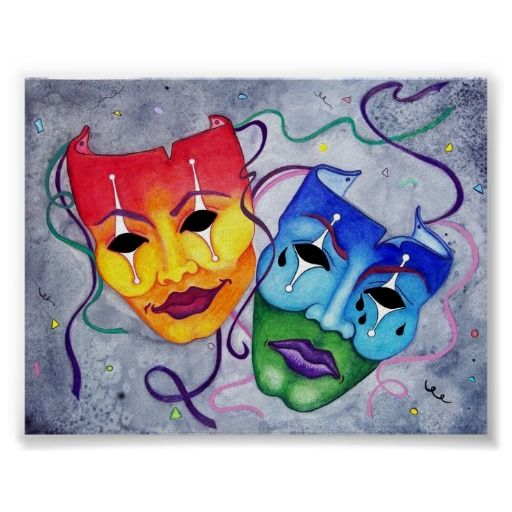 Colorful Artwork Comedy and Tragedy Masks Poster | Colors ...