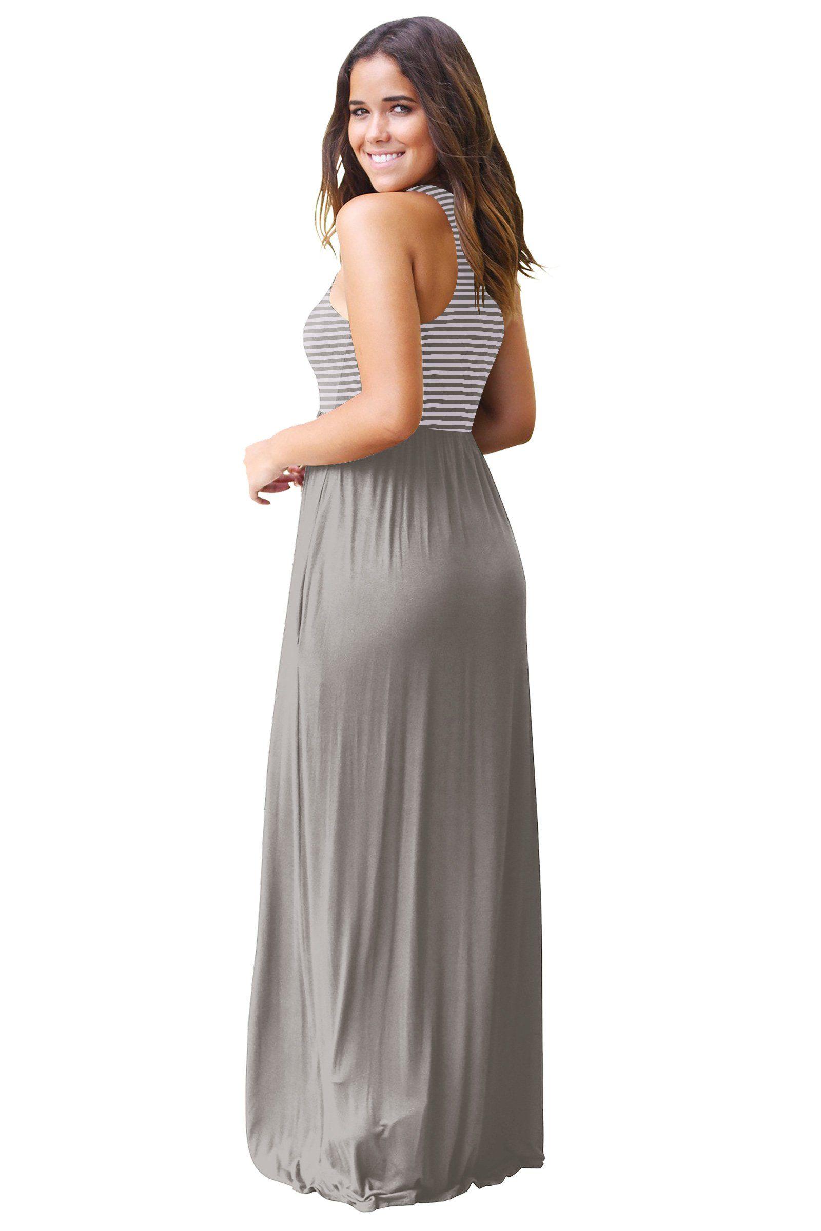 5a31f687b9cbb Maternity Fashion - best maternity maxi dress : IHouse Womens Plus Size  Striped Boho Beach Summer Sundrss Long Maxi Dress Silver L ** Learn more by  seeing ...