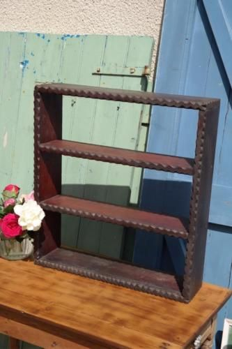 Antique Bookcase Gothic Style Shelving Unit Arts Crafts Book Shelf Rustic Ch