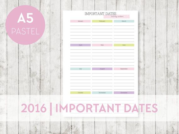 2016 A5 IMPORTANT Dates Calendar Printable by OrganiseWithKatie