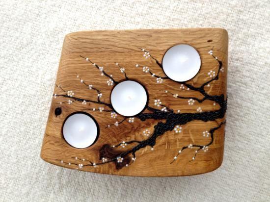 portavelas en madera de roble  madera de roble diferentes capas,de pulido