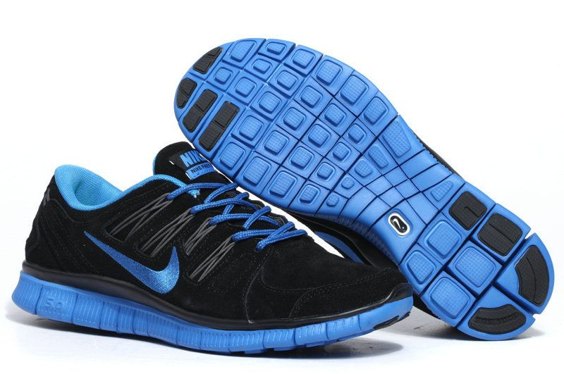 womens black royal blue nike free 5.0 suede running shoes