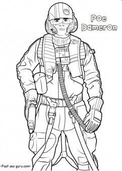 Printable Starwars The Force Awakens Poedameron Coloring Pages