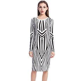 Women's Geometric Print Stripes Wrap Dress