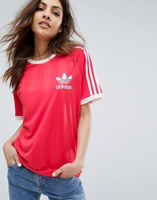 tee shirt rouge adidas femme
