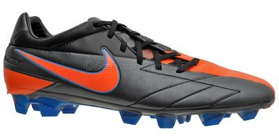 New Nike T90 Laser IV FG Mens Soccer Cleats, Kanga-Lite, Black Orange Blue. Total 90