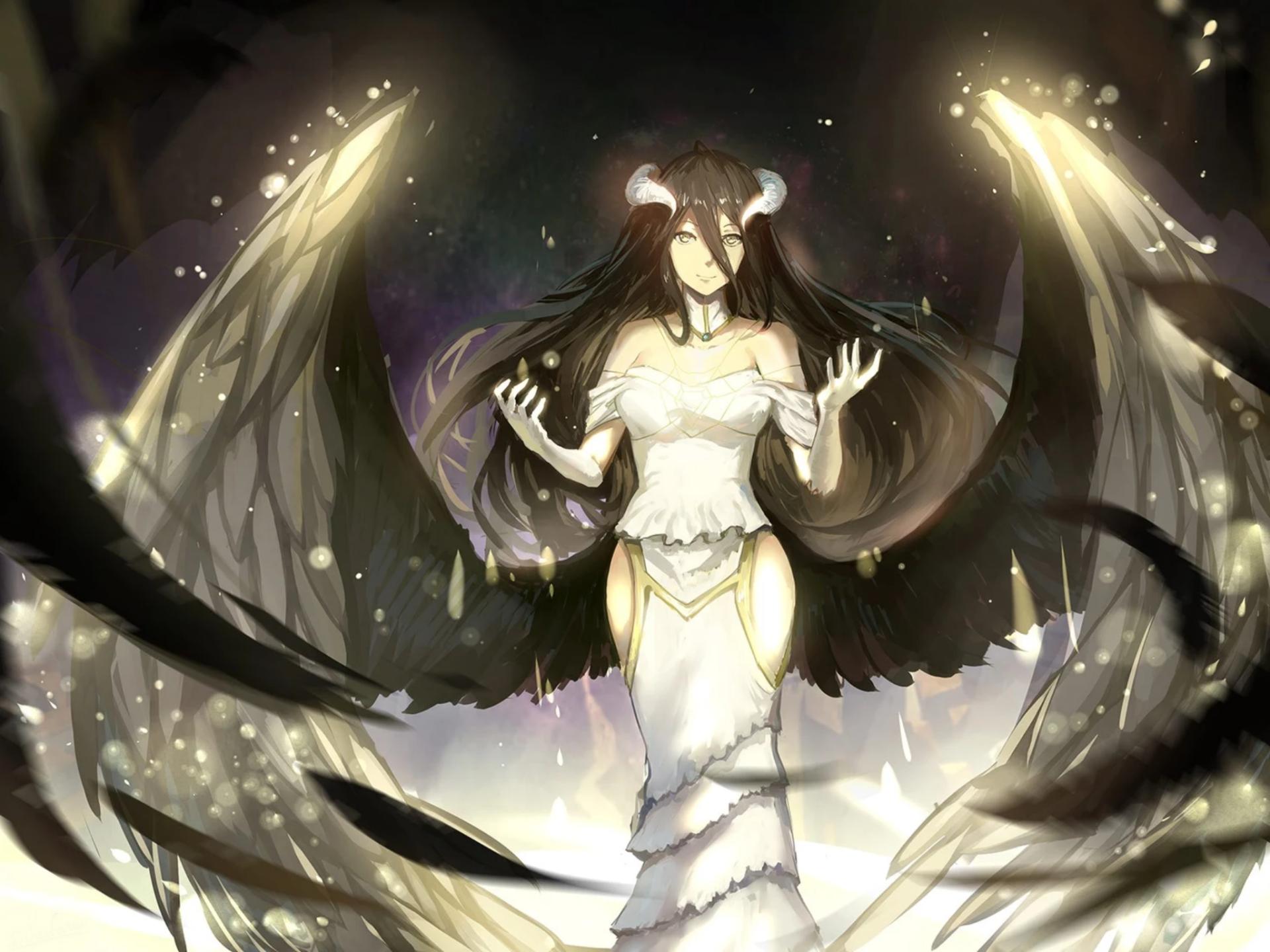 anime, girl, demon, evil, horns, wings, glowing, dark
