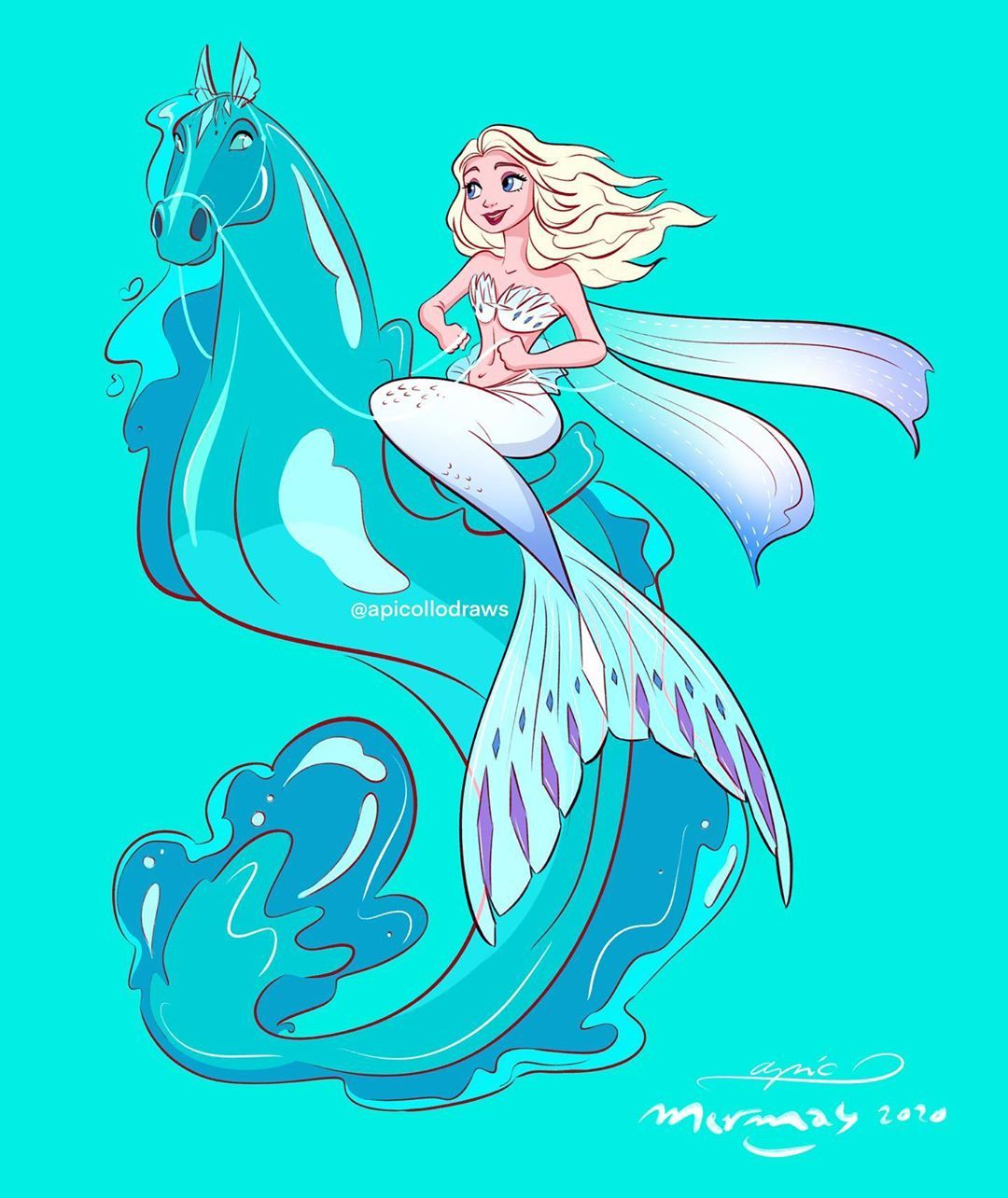 When Disney princesses trade in their legs for a tail • GEEKSPIN