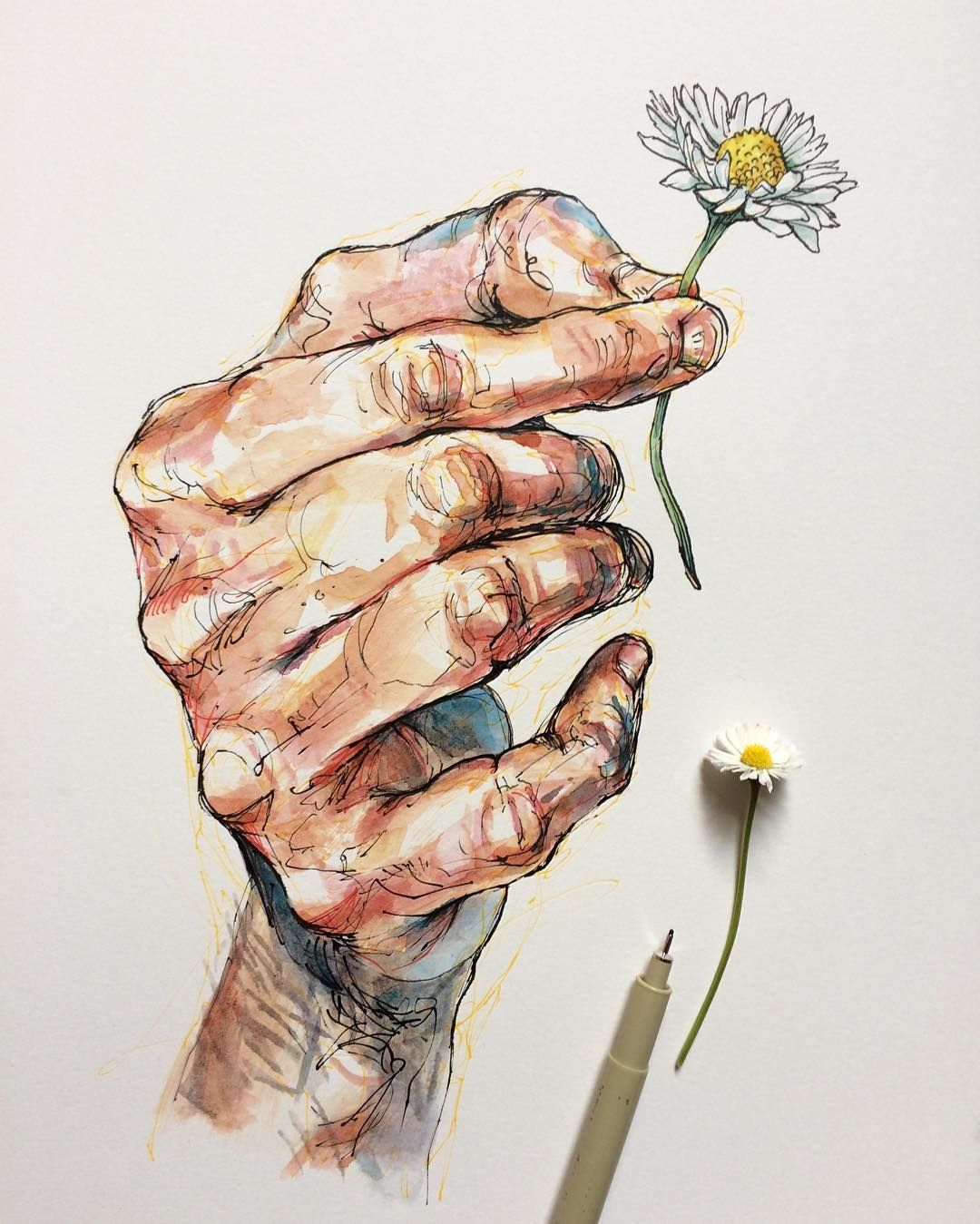 Sensual drawings of gnarled hands touching nature monday insta illustrator the creators project