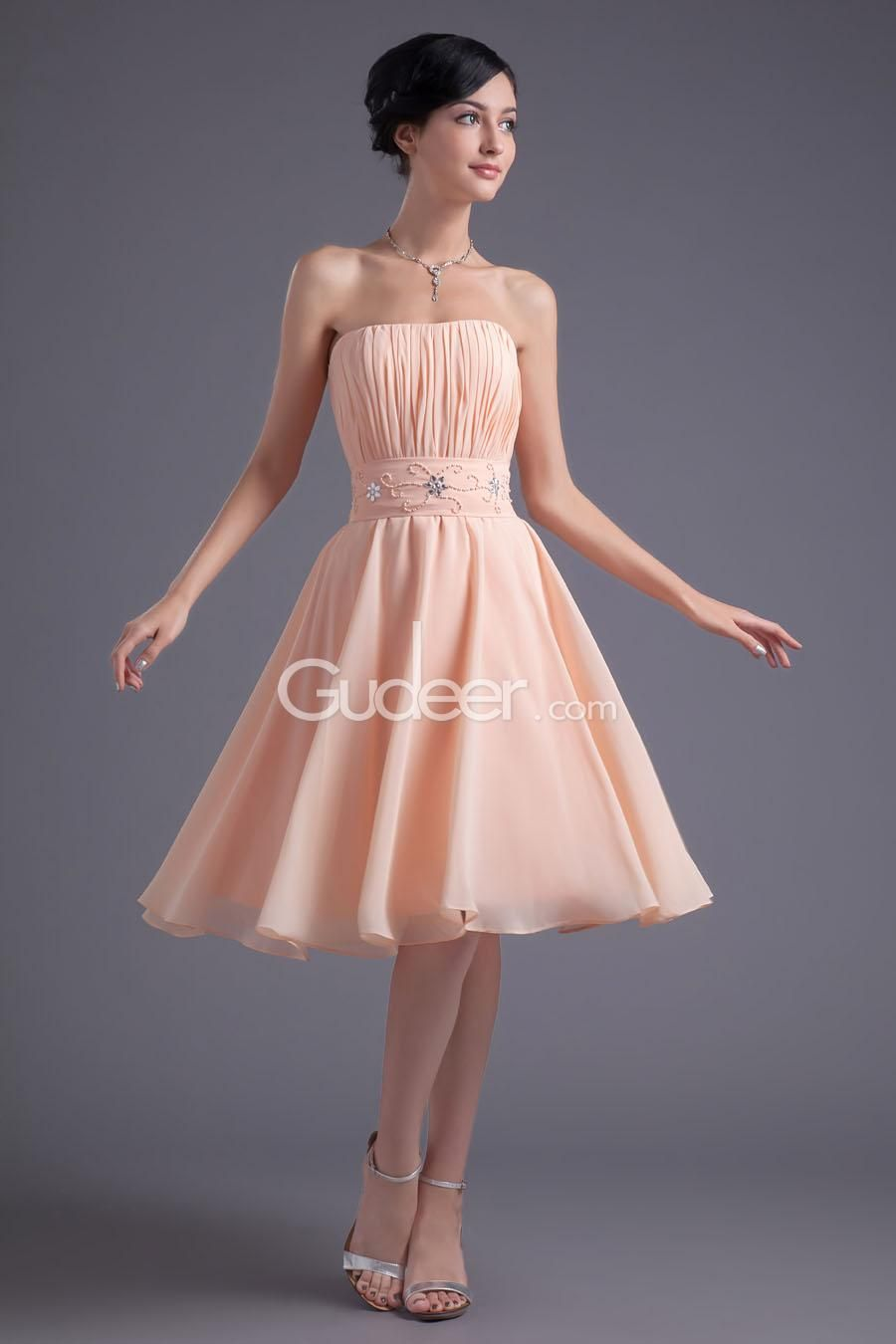 Strapless Pleated Peach Chiffon Knee Length A-line Cocktail Dress ...
