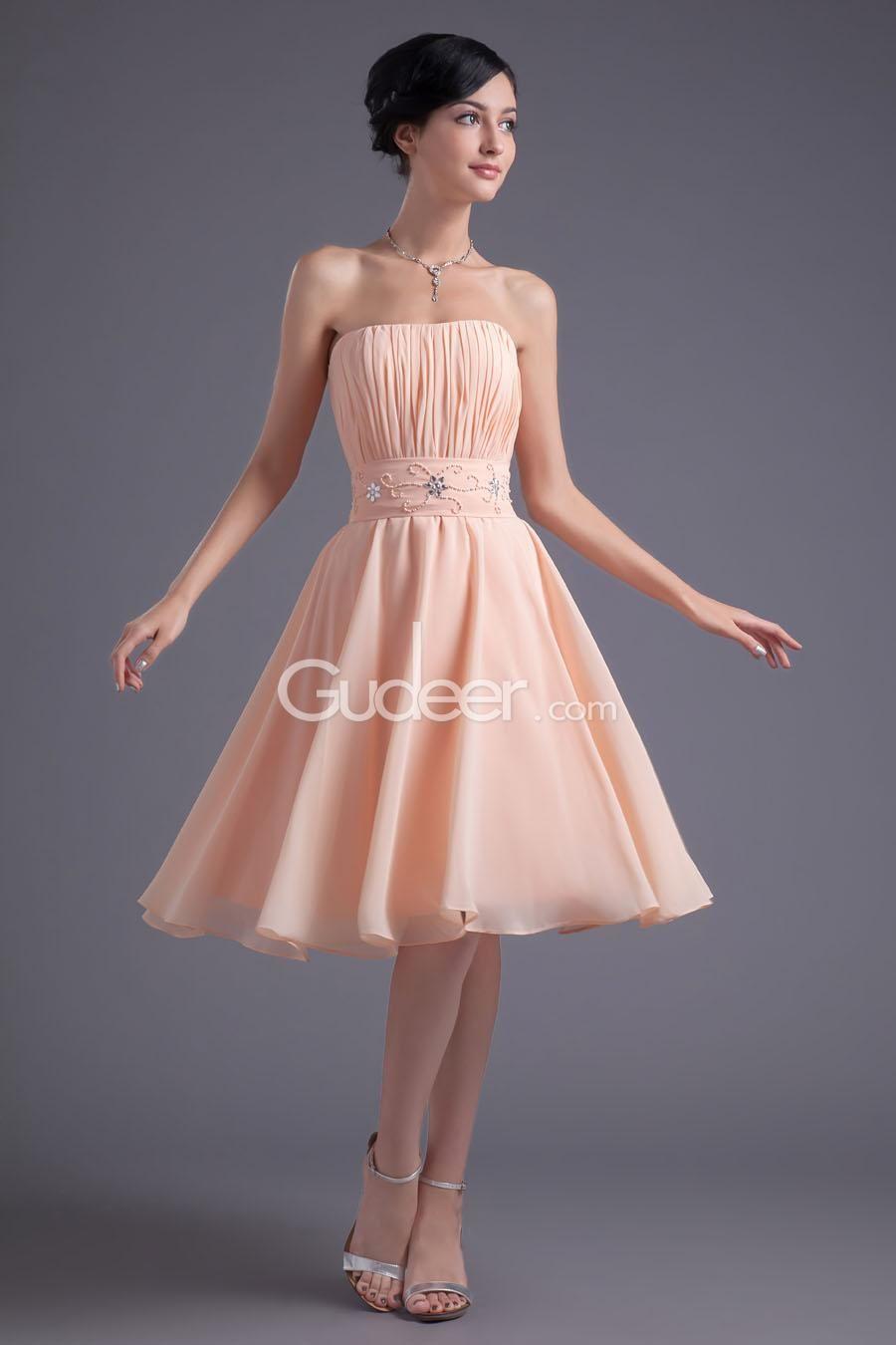 Strapless Pleated Peach Chiffon Knee Length A-line Cocktail Dress ...
