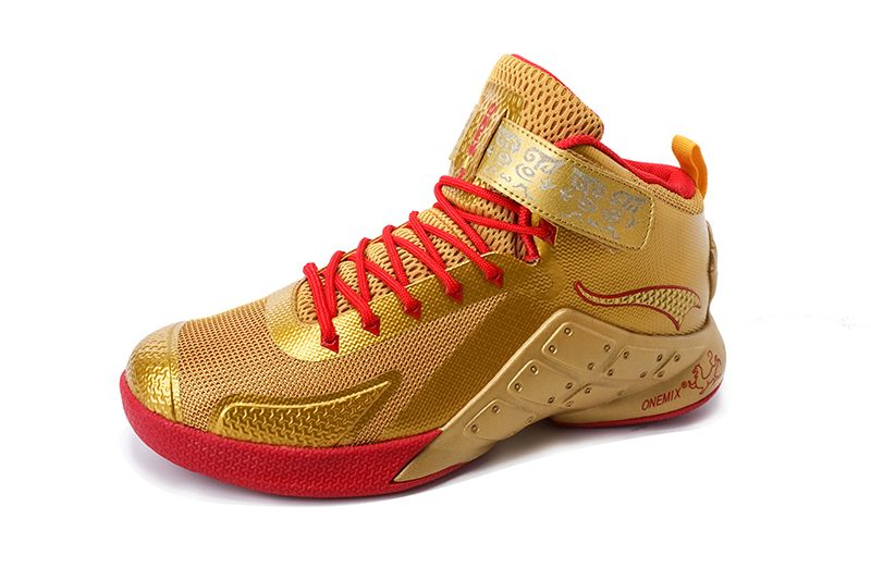 new style 1dd66 07f93 Gold Red Warriors ONEMIX Men s Breathable Basketball Shoes